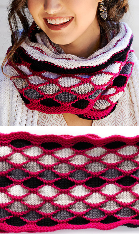 Free Knitting Pattern for Roulette Chic Cowl- This long colorful ...