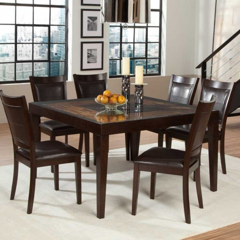 Square Kitchen Table Sets For 6 Brown Wood Dining Table Dining Table In Kitchen Kitchen Table Settings