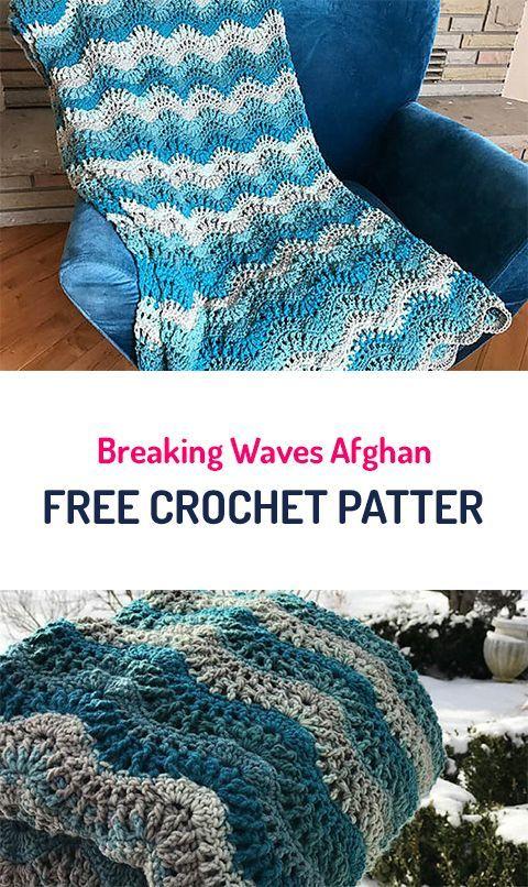 Breaking Waves Afghan Blanket Free Crochet Pattern #crochet #yarn ...