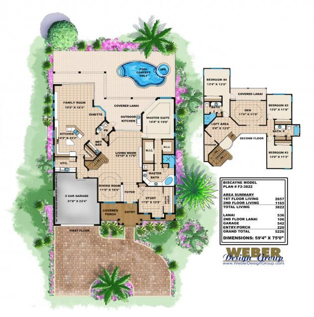 old florida floor plan - biscayne home plan |weber design group