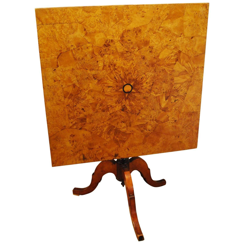19th century alder root square pedestal table 1 pedestal