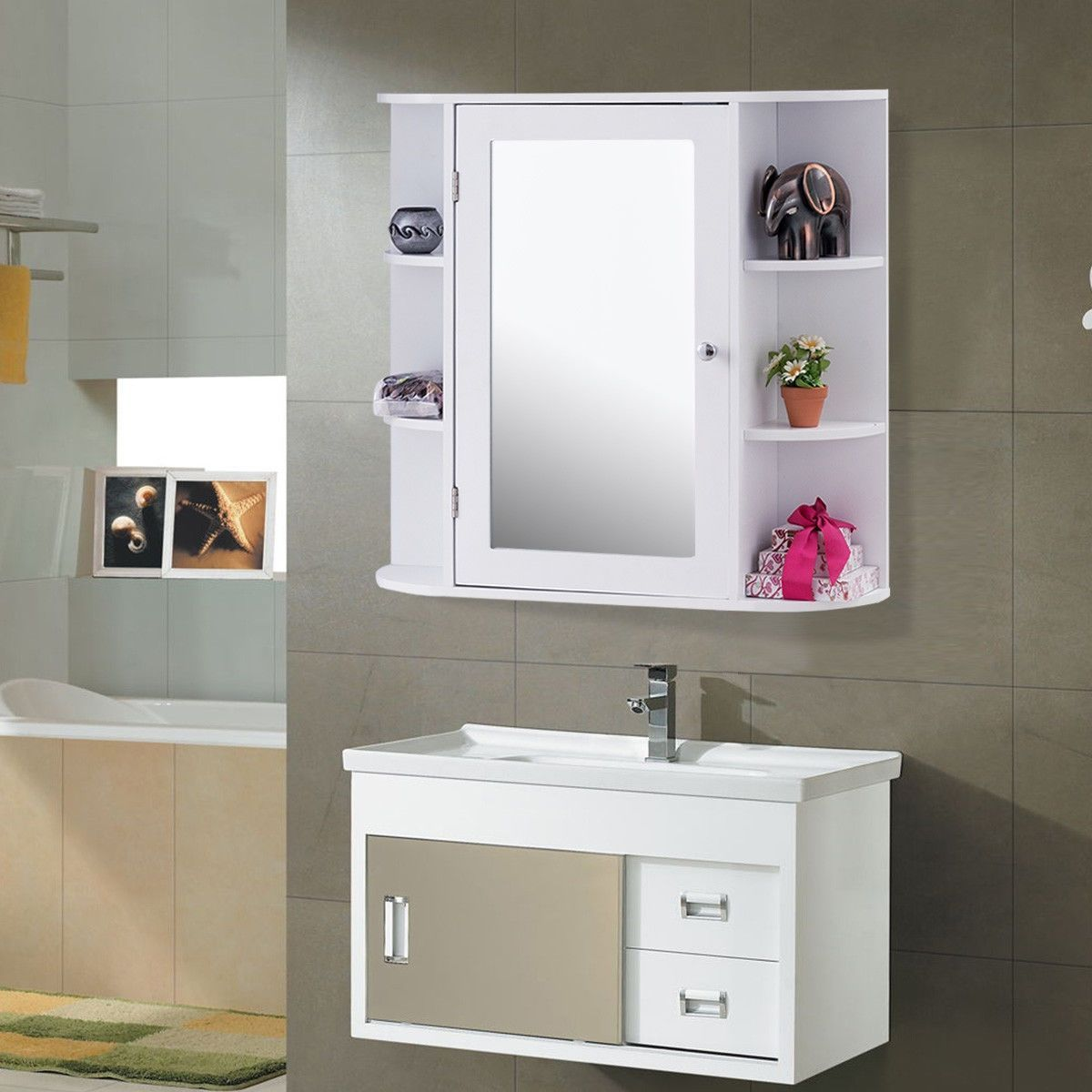 Amazing And Unique Tips Wall Mirror Ideas Entryway Tables Wall Mirror With Lig Wall Mounted Bathroom Cabinets Bathroom Mirror Storage Bathroom Storage Cabinet