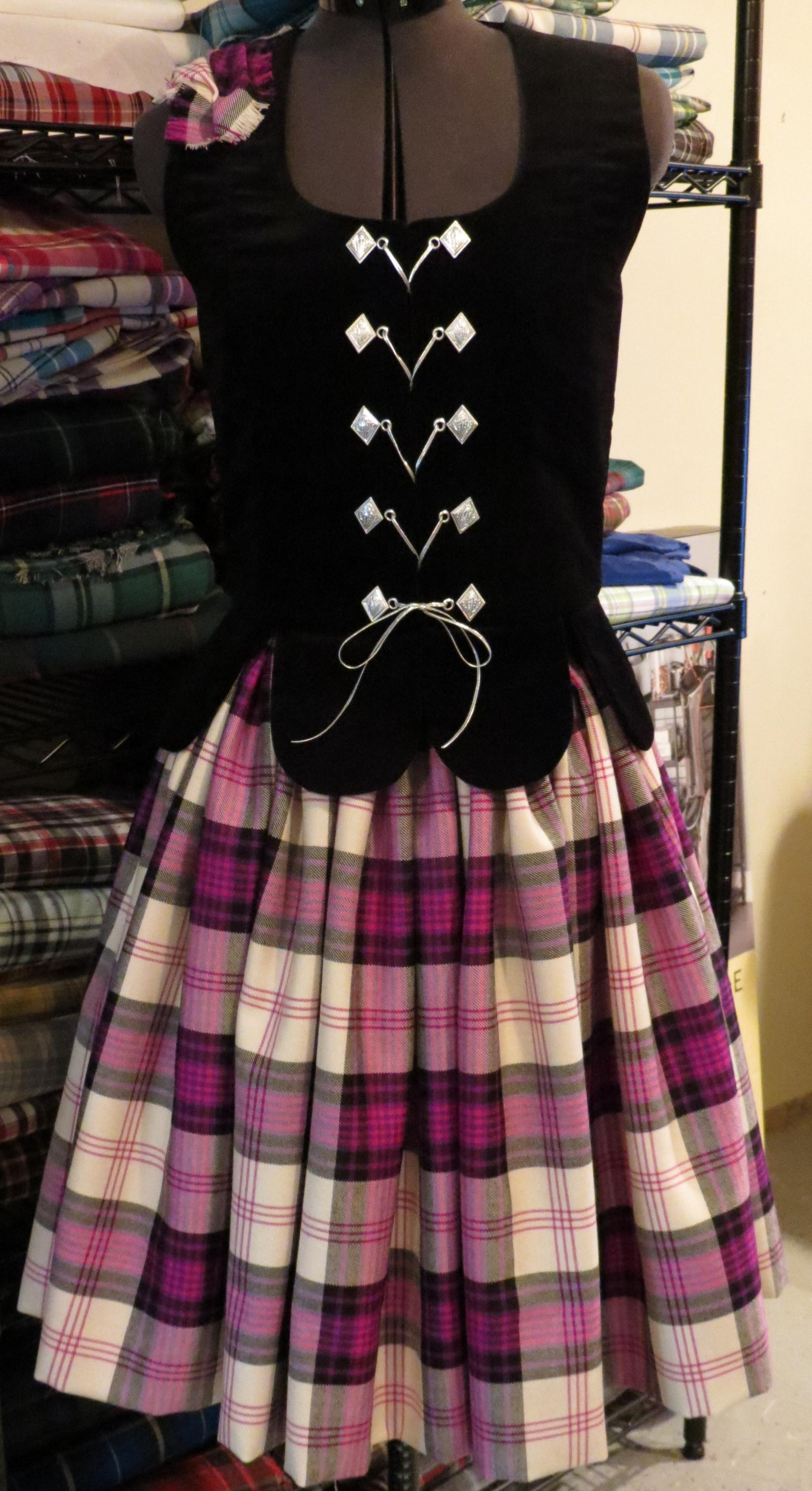 Aboyne With Black Vest Ross Purple Tartan Dress