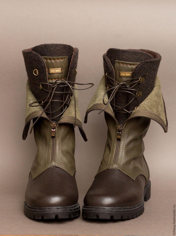 1c1cb98d Купить Ботинки ручной работы УНИсекс милитари - хаки, оливковый, ботинки  мужские, ботинки женские
