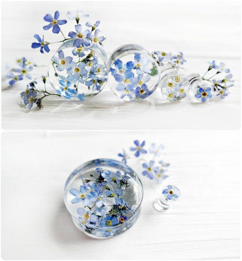Forget me not blue flower plug earrings resin ear