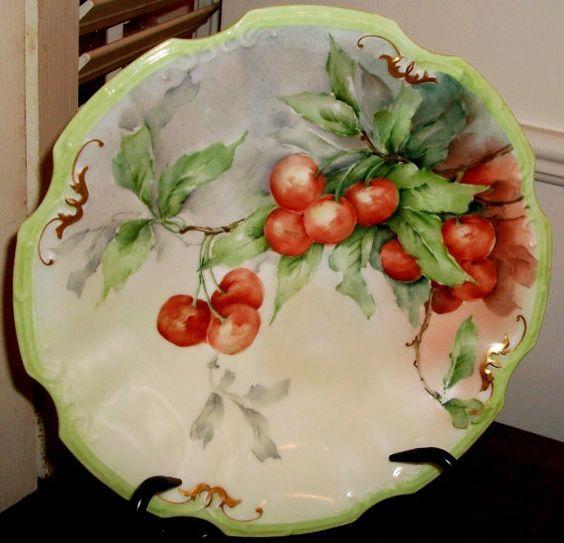 Antique Coiffe Limoges 8-inch porcelain cherries pattern plate ...