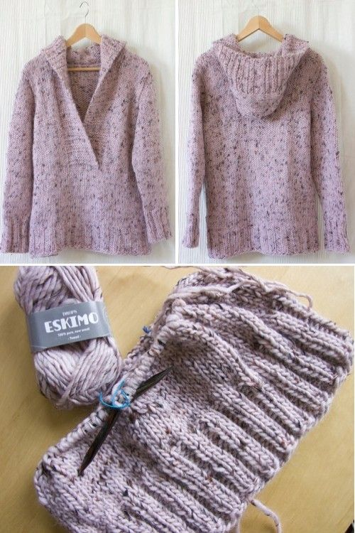 Photo of Pinky Campfire (Knitted Jumper with hood) – Free Pattern (Beautiful Skills – Crochet Knitting Quilting)