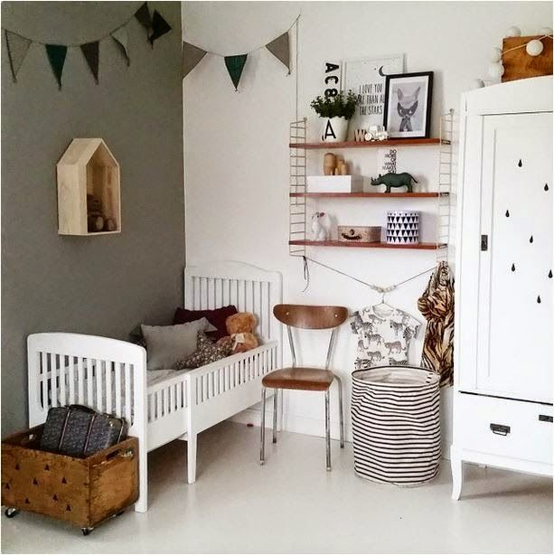 Love the dark wooden touches - a vintage and modern toddler room ...