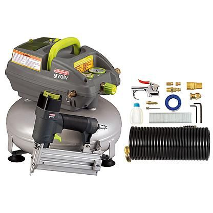 Evolv 3 Gallon Pancake Air Compressor With 2 In Brad Nailer And Accessory Kit Craftsman Air Compressor Air Compressor Craftsman Power Tools