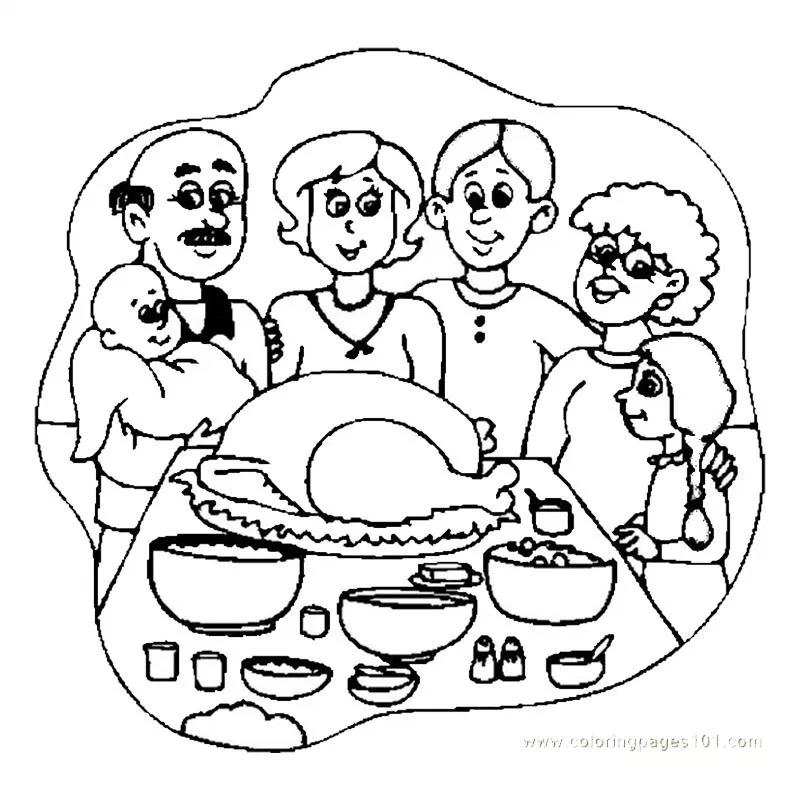 Dibujos Cena Familiar Del Dia De Accion De Gracias Paginas Para Colorear Para Ninos Dibujos De Accion De Gracias Familia En Navidad