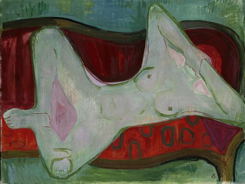 amare-habeo:  Karl Kluth (German, 1898-1972) Nude on a red sofa (Akt auf rotem Sofa), 1933 Oil on canvas