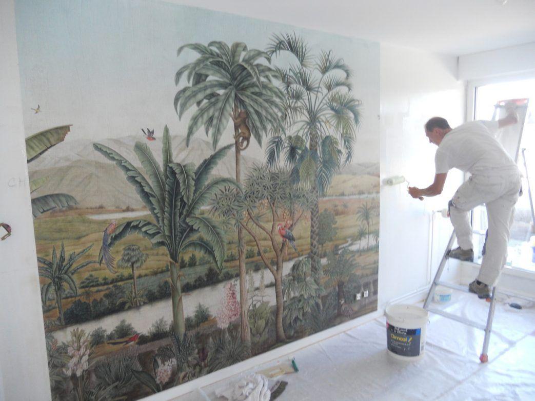 Papier Peint Panoramique Sevigne Peinture Artisan Paysage Ananbo