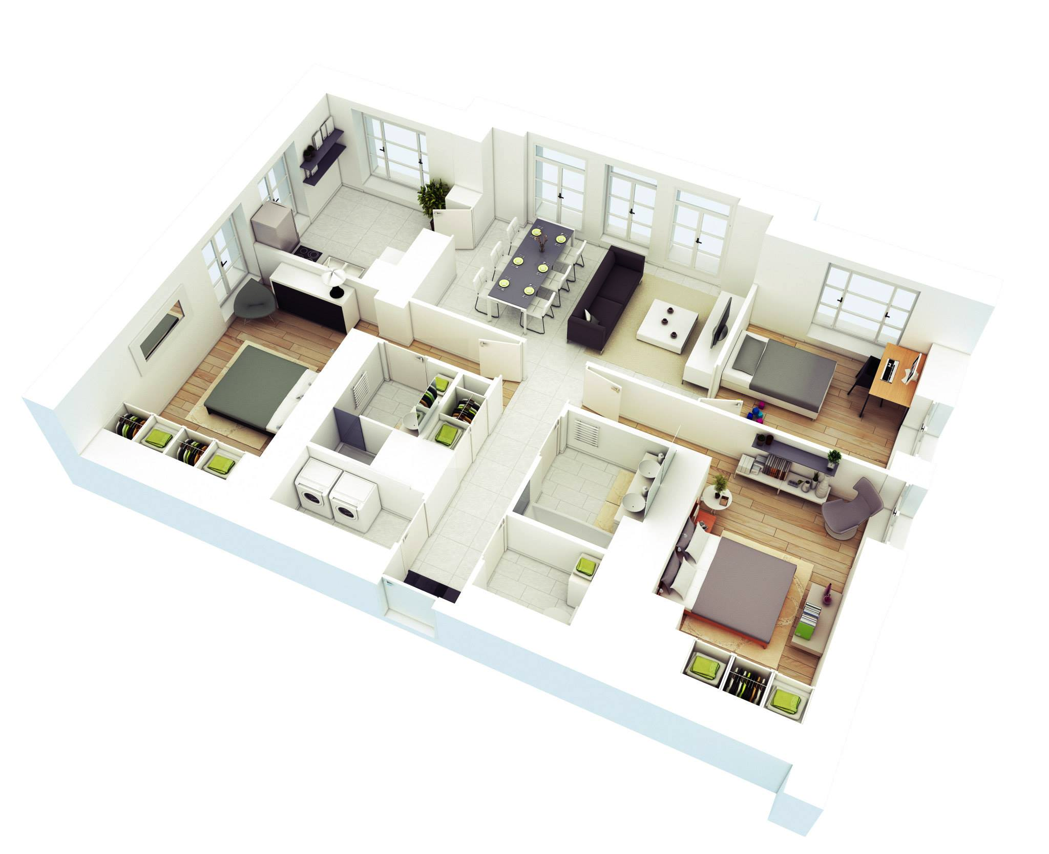 25 More 3 Bedroom 3d Floor Plans Three Bedroom House Plan Bedroom House Plans Bedroom Floor Plans