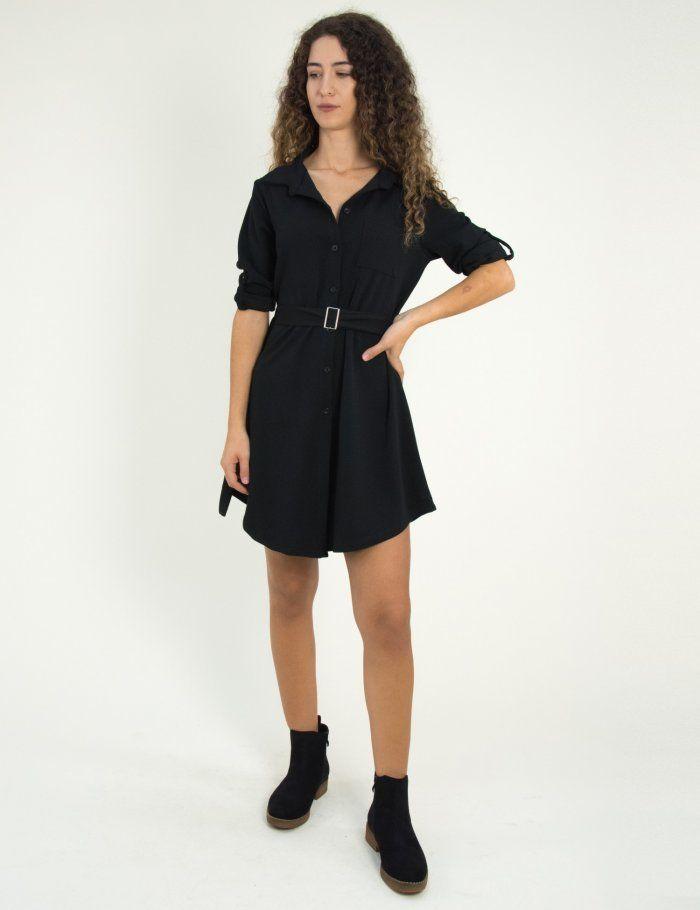 aee940487077 Γυναικείο μαύρο πουκαμισοφόρεμα με τσεπάκι So Sexy 91770G  φθινόπωρο   foremata  φορέματα  τορουχο