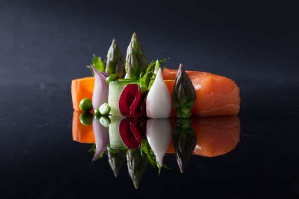 Scottish Salmon 46 degrees - slow cooked vegetables - celery chips - The ChefsTalk Project