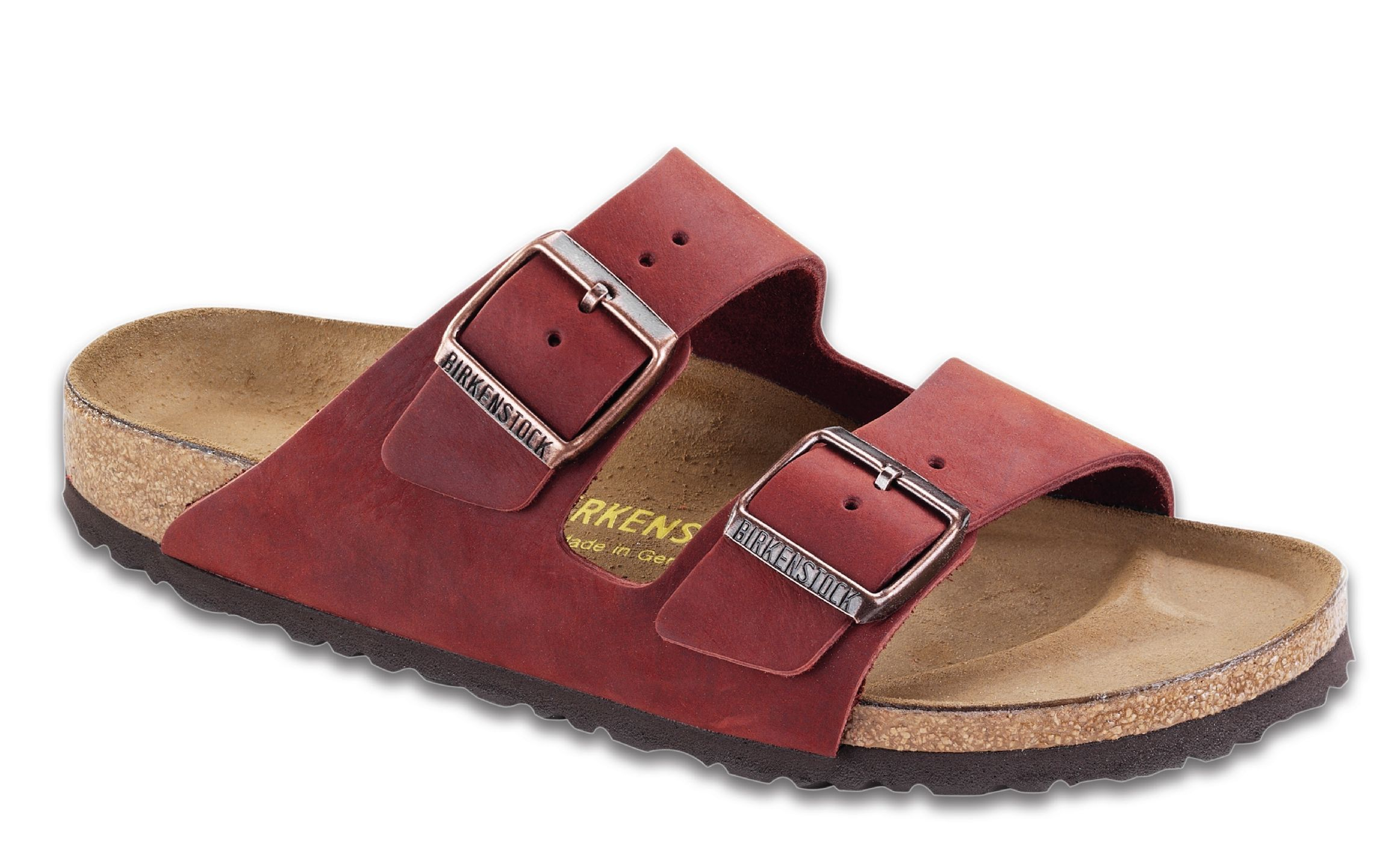 d42219b52 birkenstock arizona henna oiled leather Classic two-strap style sandals in  a variety of materials with fully adjustable straps and shock-absorbing EVA  sole.