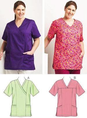 Kwik Sew Scrub Tops Plus Size Pattern | ambos | Pinterest