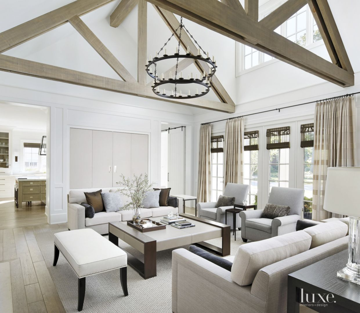 Great Room: Transitional White Great Room With Custom Coffee Table
