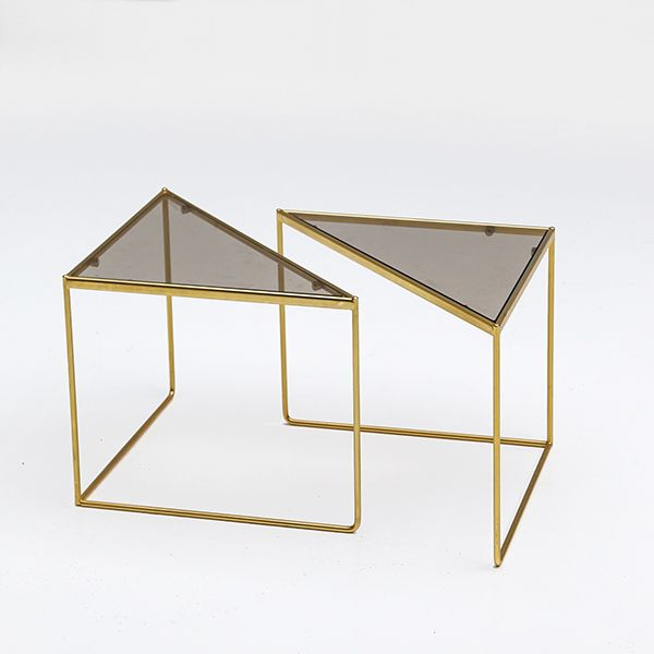 glass form furniture 80s fab playful geometric triangular form tables with smoked glass glass