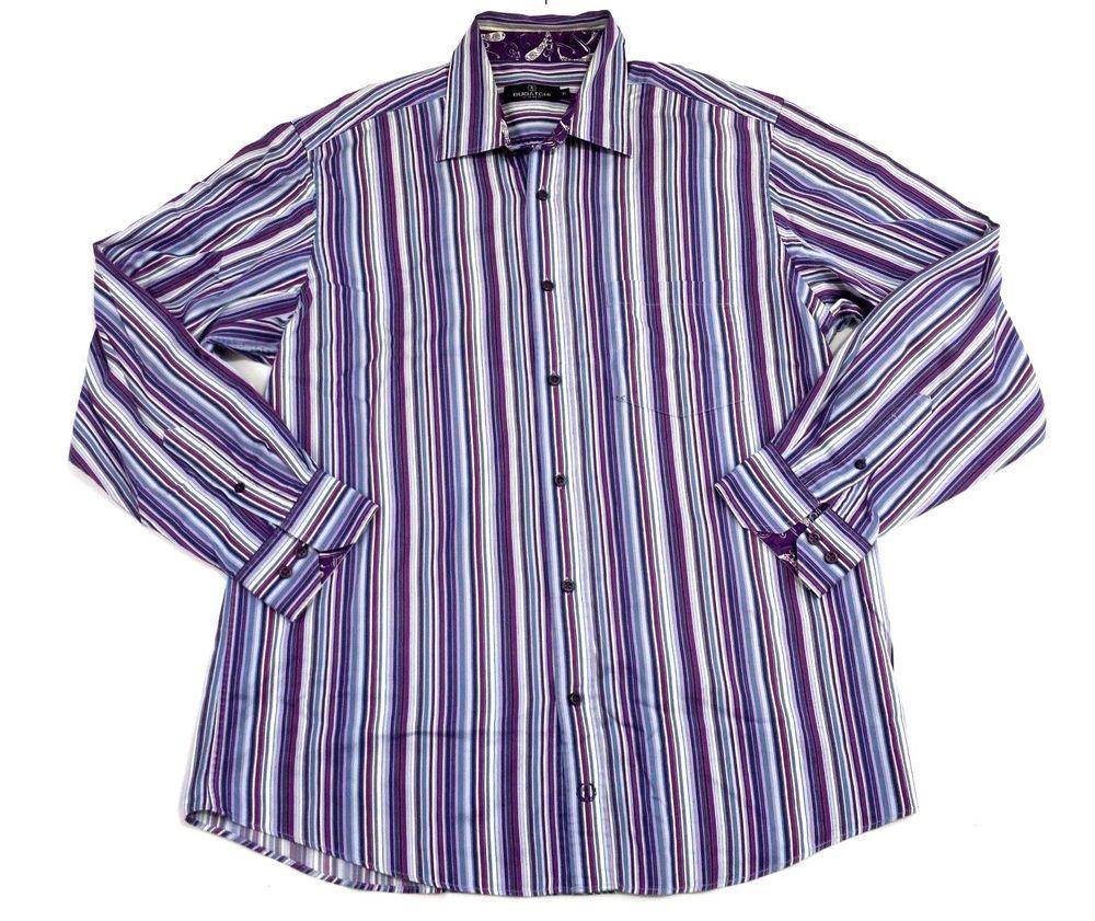 BUGATCHI UOMO Mens Classic Fit Button Down Casual Shirt Purple Blue Striped XL #BugatchiUomo #ButtonFront