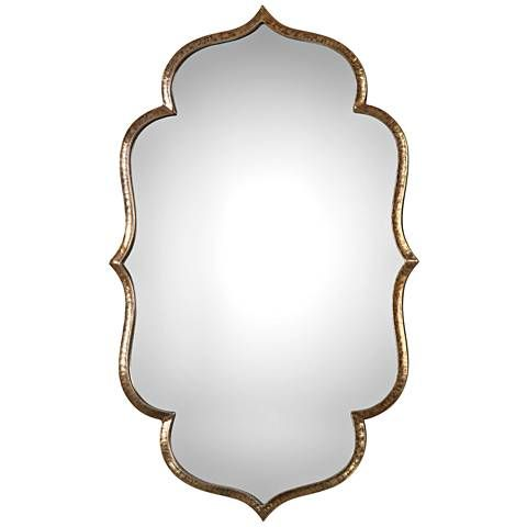 Zina Antiqued Gold 23 3 4 X 39 1 4 Wall Mirror 14g56 Lamps Plus Mirror Wall Gold Mirror Wall Mirror Design Wall