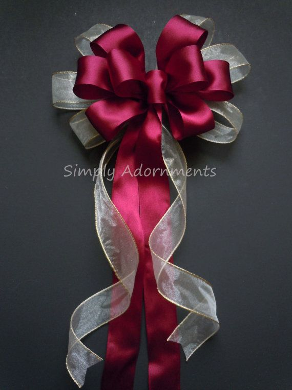 Beautiful satin and tulle bows with streamers and bling wedding ivory burgundy wedding pew bow burgundy ivory wedding aisle decoration church pew bow fall wedding ceremony junglespirit Choice Image