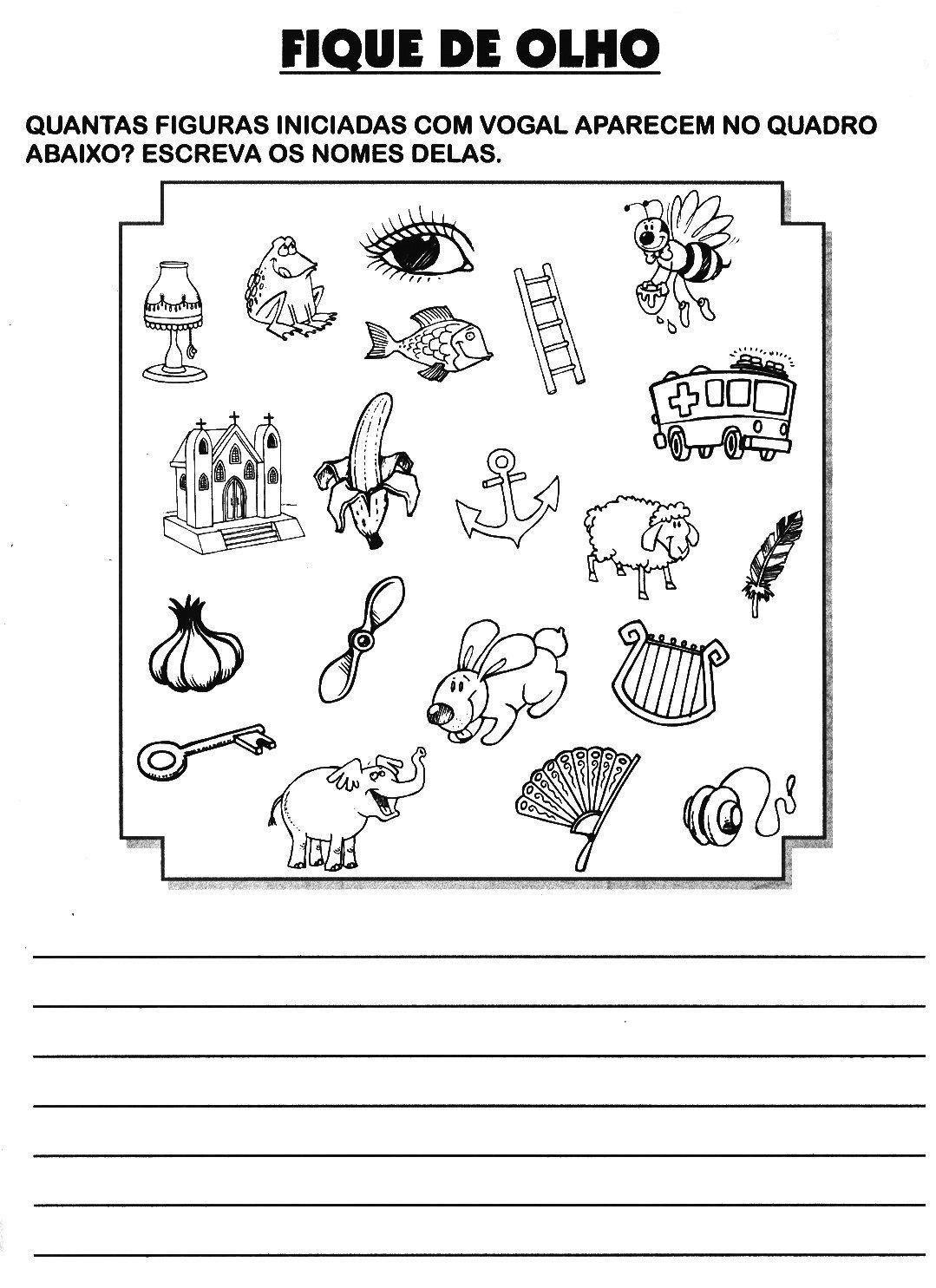 atividades de alfabetização escreva o nome das figuras que começam