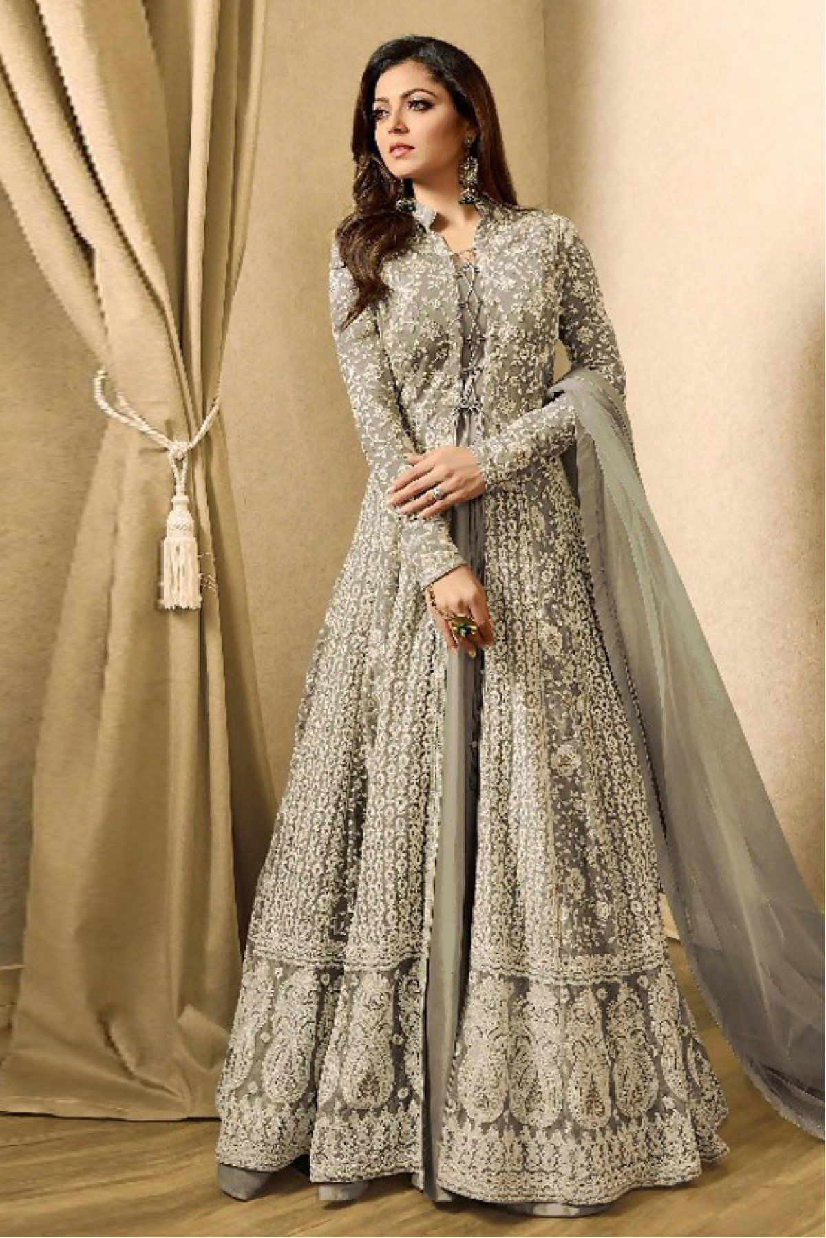 21aead36e1ef8 Net Anarkali Suit In Grey Colour