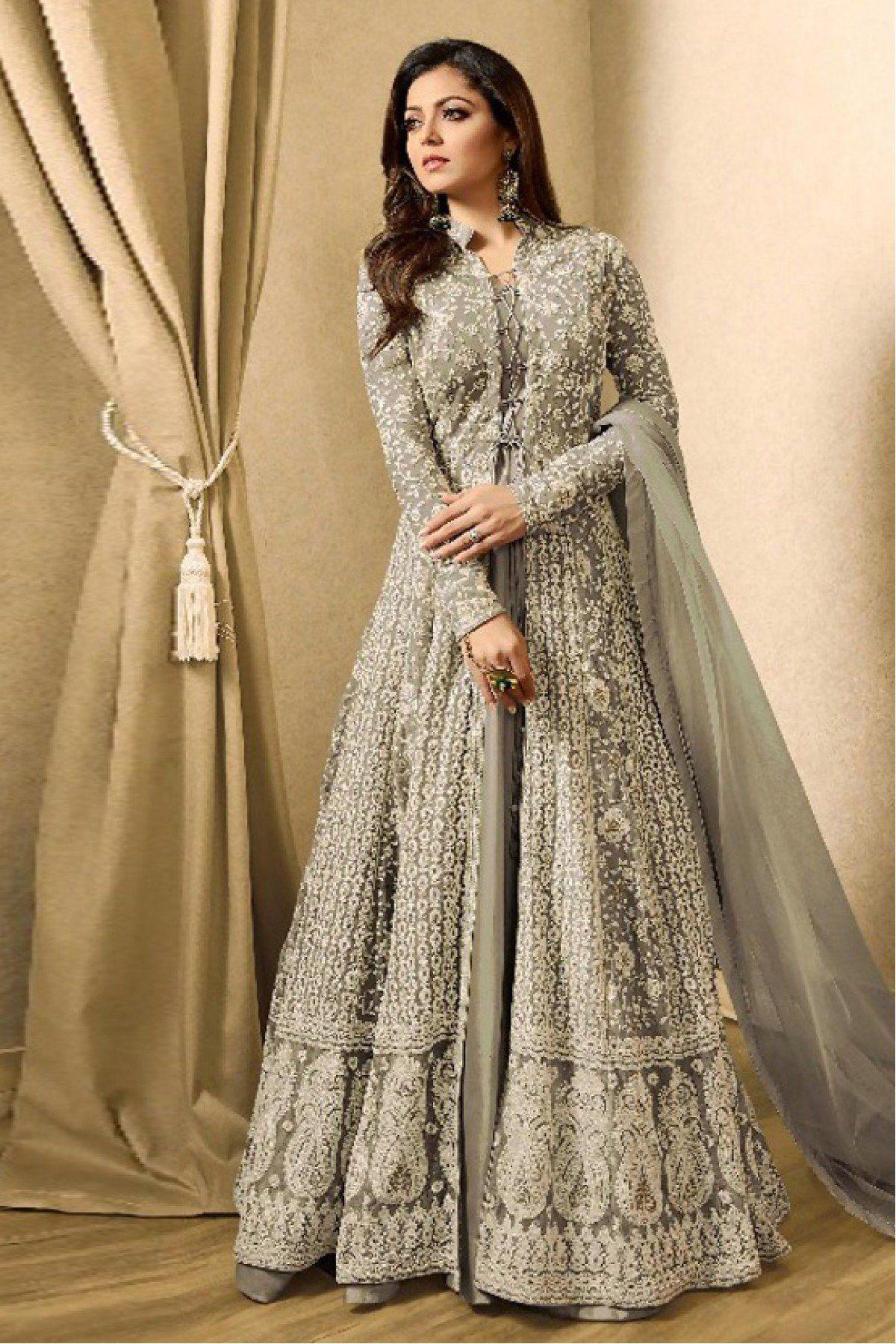 f46c8c1333640 Net anarkali suit in grey colour drashti dhami designer salwar suits  dresses also sonal chauhan twin