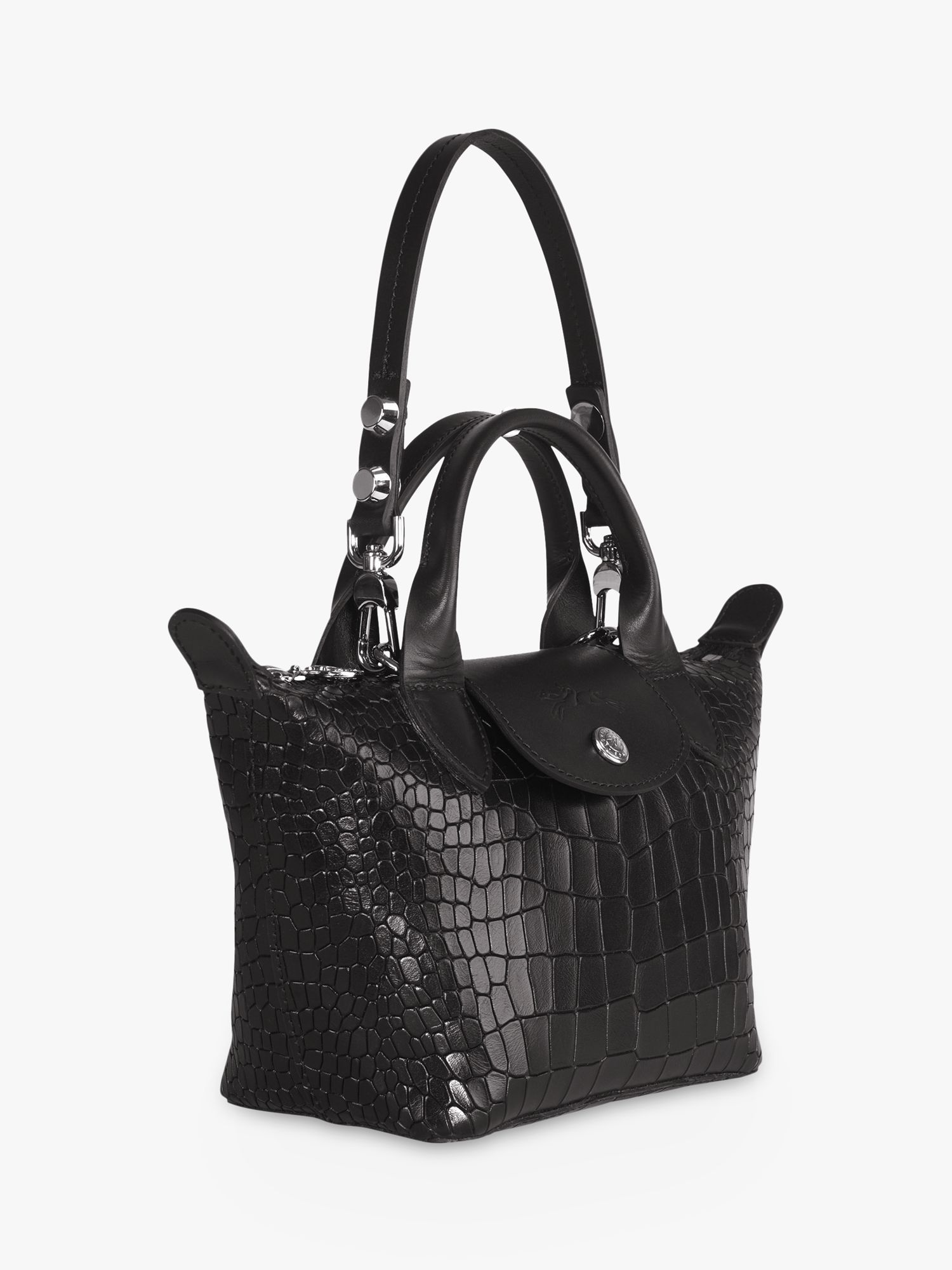 Longchamp Le Pliage Cuir Croco Mini Leather Top Handle Bag, Black ...