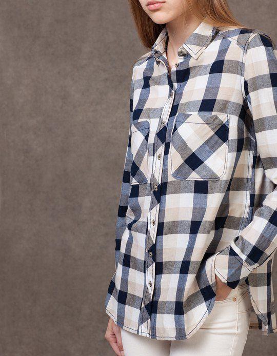 Camisa de cuadros   Camisas cuadros mujer, Camisas de