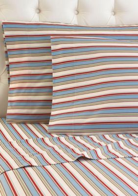 Shavel Awning Stripe MICRO FLANNEL PRINTED SHEET SET