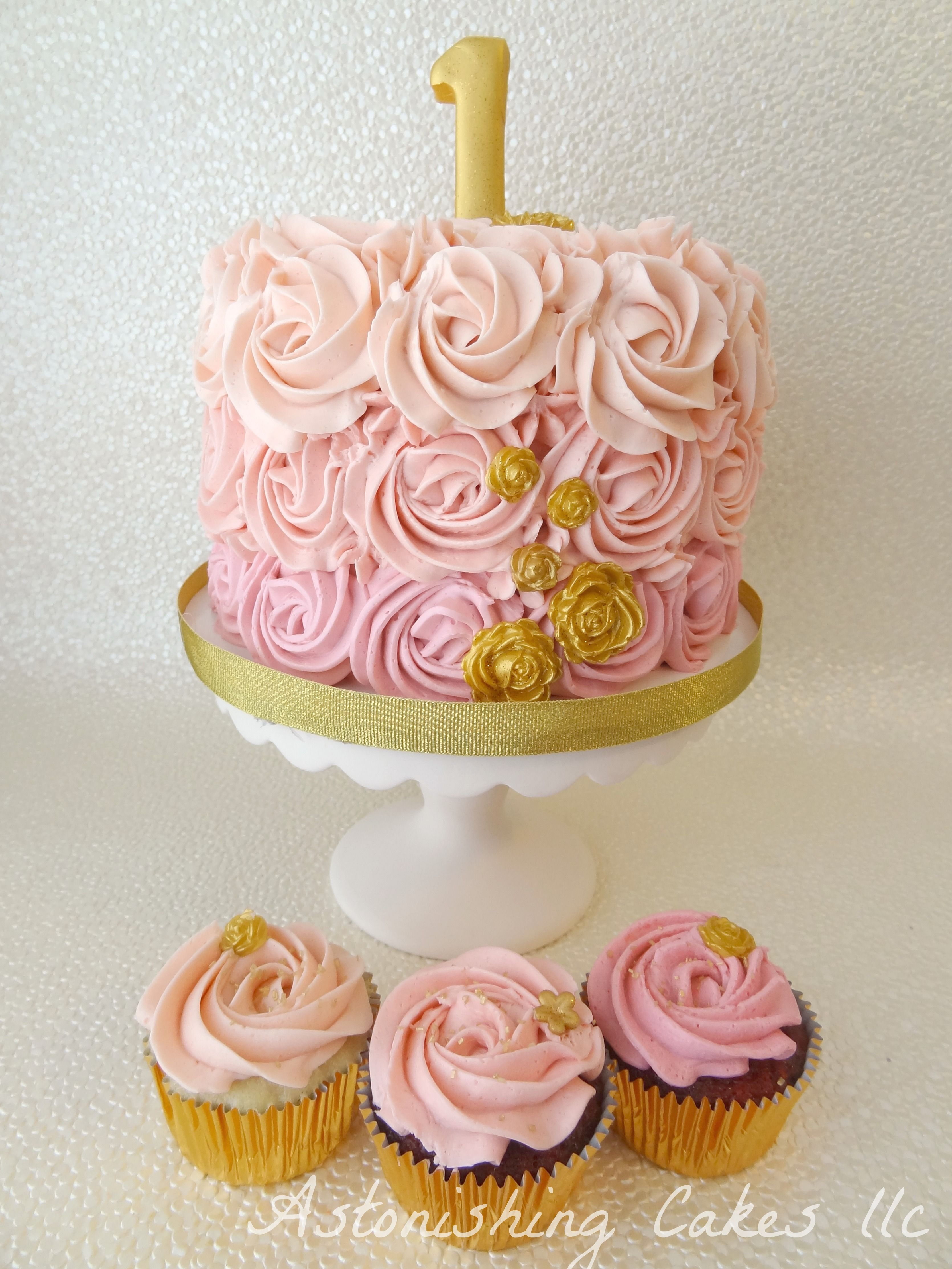 Pink Rosette Cake Images : Pink Rosette Smash Cake & Cupcakes 1st Birthday smash ...