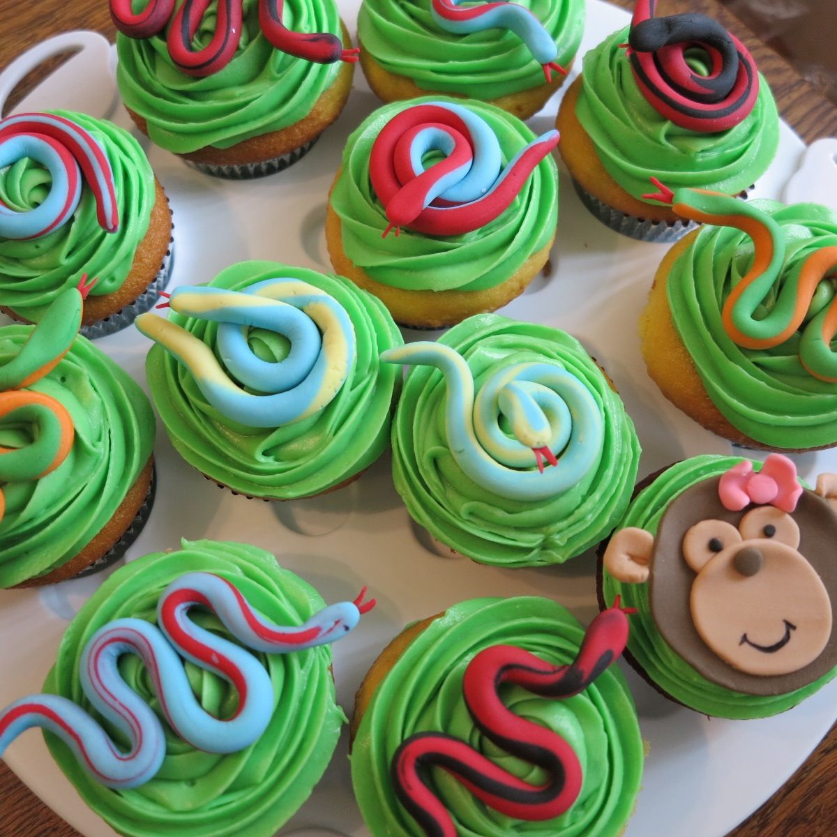 Snakes And Monkey Cupcakes Rainforest Theme