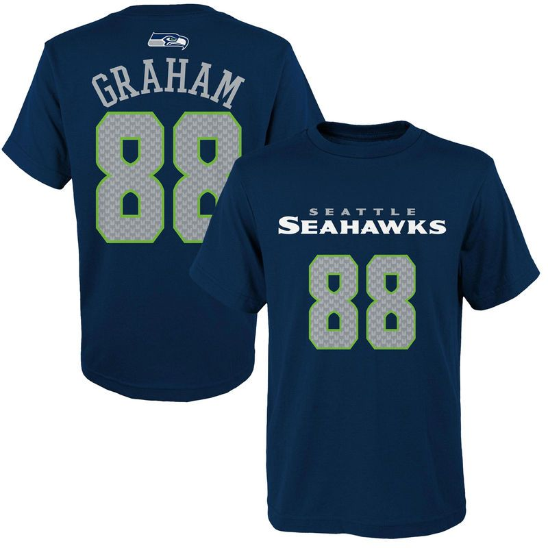 Jimmy Graham Seattle Seahawks Youth Mainliner Name & Number T-Shirt - College Navy