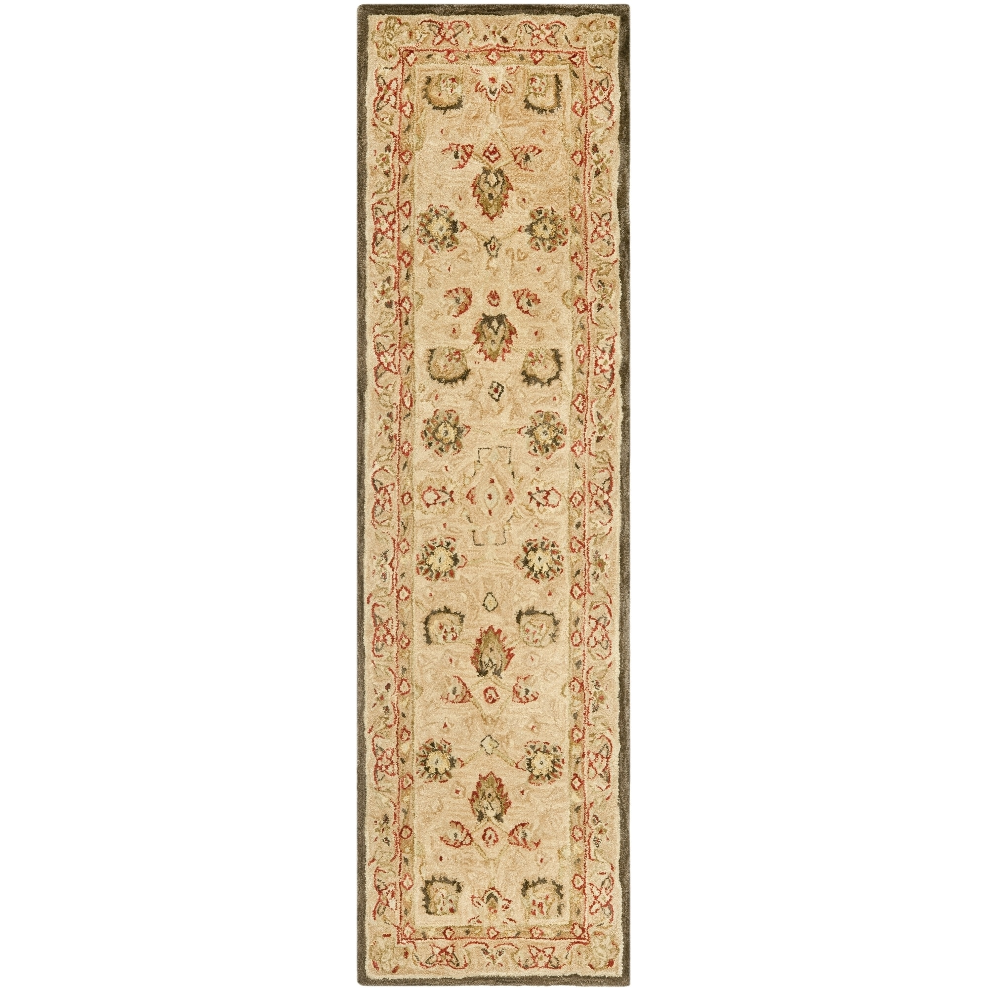 Oliver James Helen Oriental Beige Wool Rug 2 Ft 3 In X 10 Ft