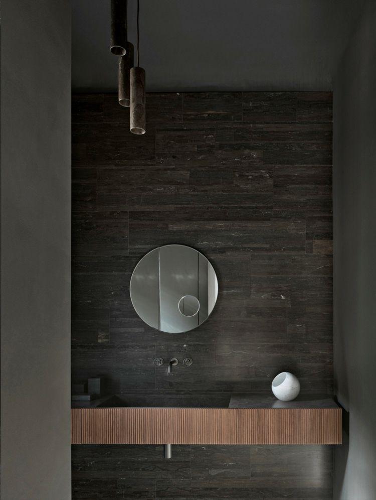 Badezimmer Armaturen In Schwarz Stilvolle Und Moderne Badausstattung Runde Badezimmerspiegel Waschtisch Und Home Design