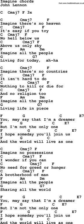Song Lyrics with guitar chords for Imagine - John Lennon | Beatles ...