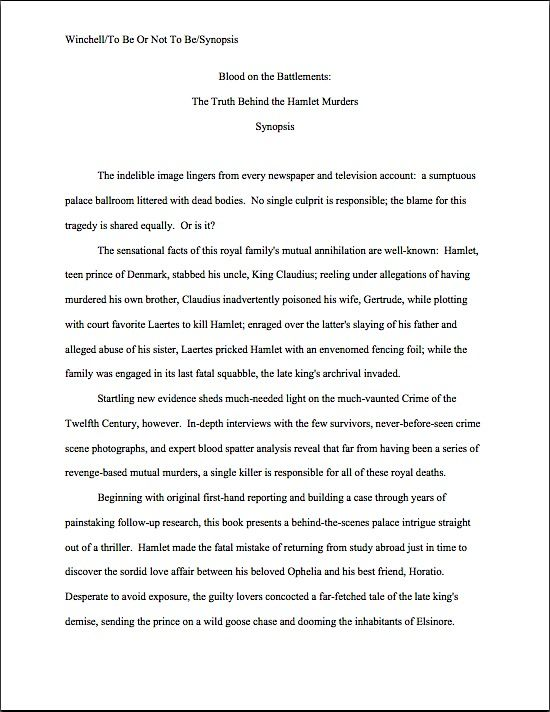 Sample book synopsis Hamlet true crime synopsis The Literary - author resume