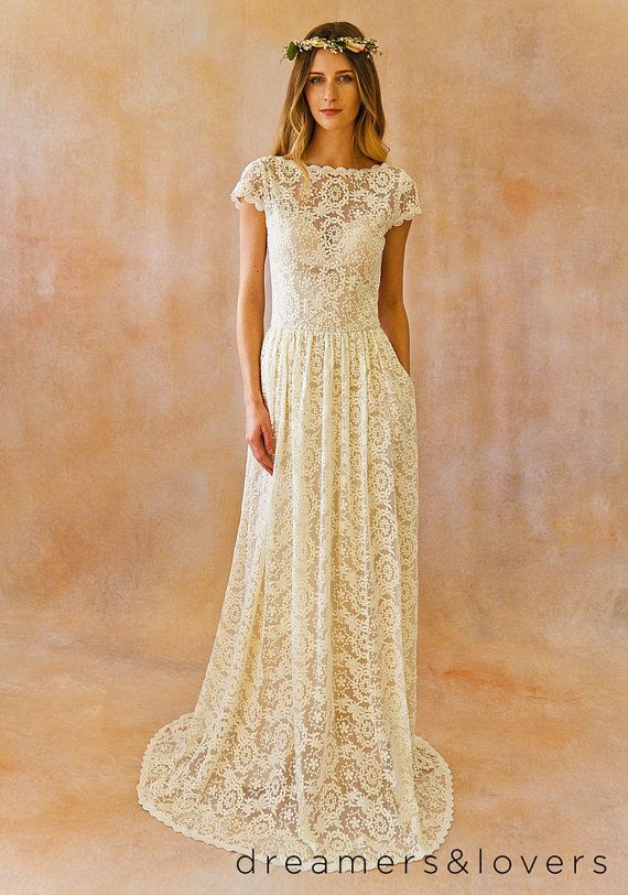 Ivory Or White Lace Bohemian BACKLESS WEDDING GOWN. Simple And Elegant Wedding  Dress With Open Back And Pockets So Elegant. Cap Sleeves