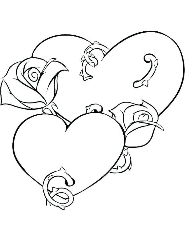 Rose Coloring Page For Adults Heart Coloring Pages Rose Coloring Pages Hearts And Roses