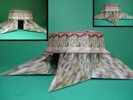 Kokiri Shop from Legend of Zelda: Ocarina of Time, remade in Papercraft, proving the concept of  papercraft models working within Video Games (Ron, 2010)