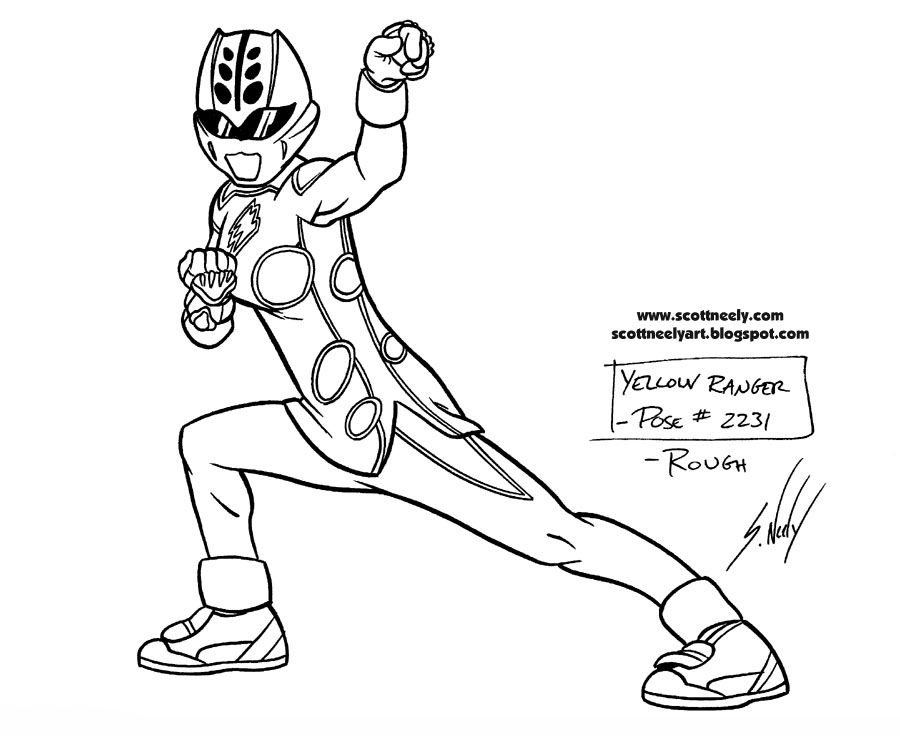 Yellow Power Rangers Jungle Fury Coloring Pages For Girls