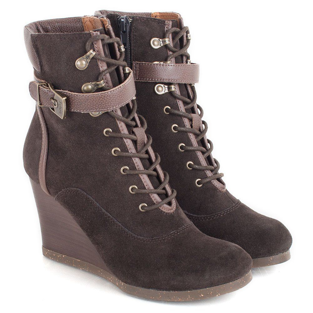 Brown Lidean Women's Wedge Ankle Boot