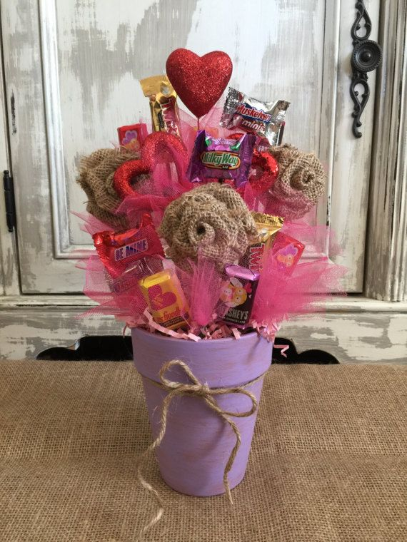 Burlap Flower Candy Bouquet / Candy Bouquet / Candy Pot ...