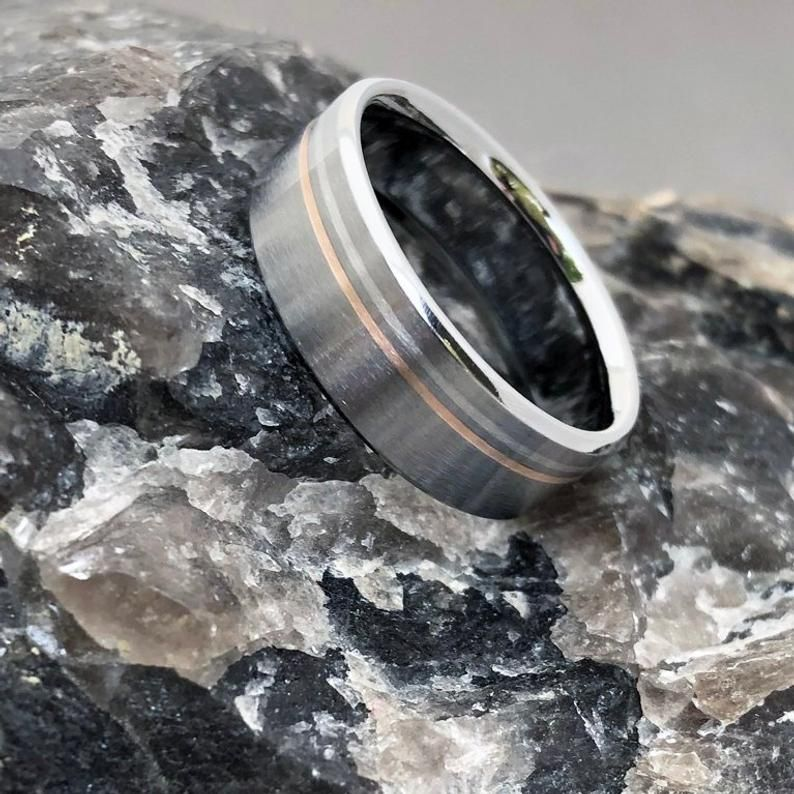 Platinum and 18k Rose Gold Titanium Ring, Mixed Metal