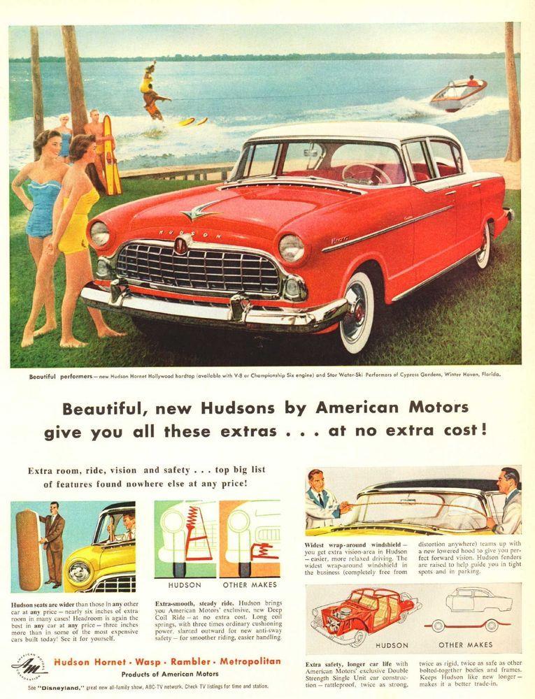 1955 Ad Hudson Hornet Hollywood hardtop car Cypress Gardens Print Ad ...