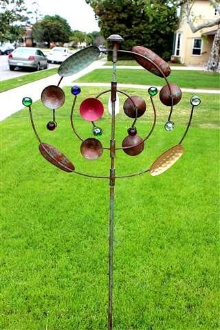 Details About Metal Windmill Cosmic Dance Wind Spinner Yard Stake