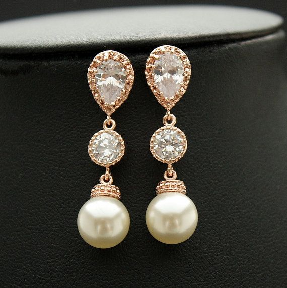 711253942 ROSE GOLD Bridal Pearl Drop Earrings Cubic Zirconia Teardrop Connectors  Medium Round Pearl Earrings Wedding Earrings