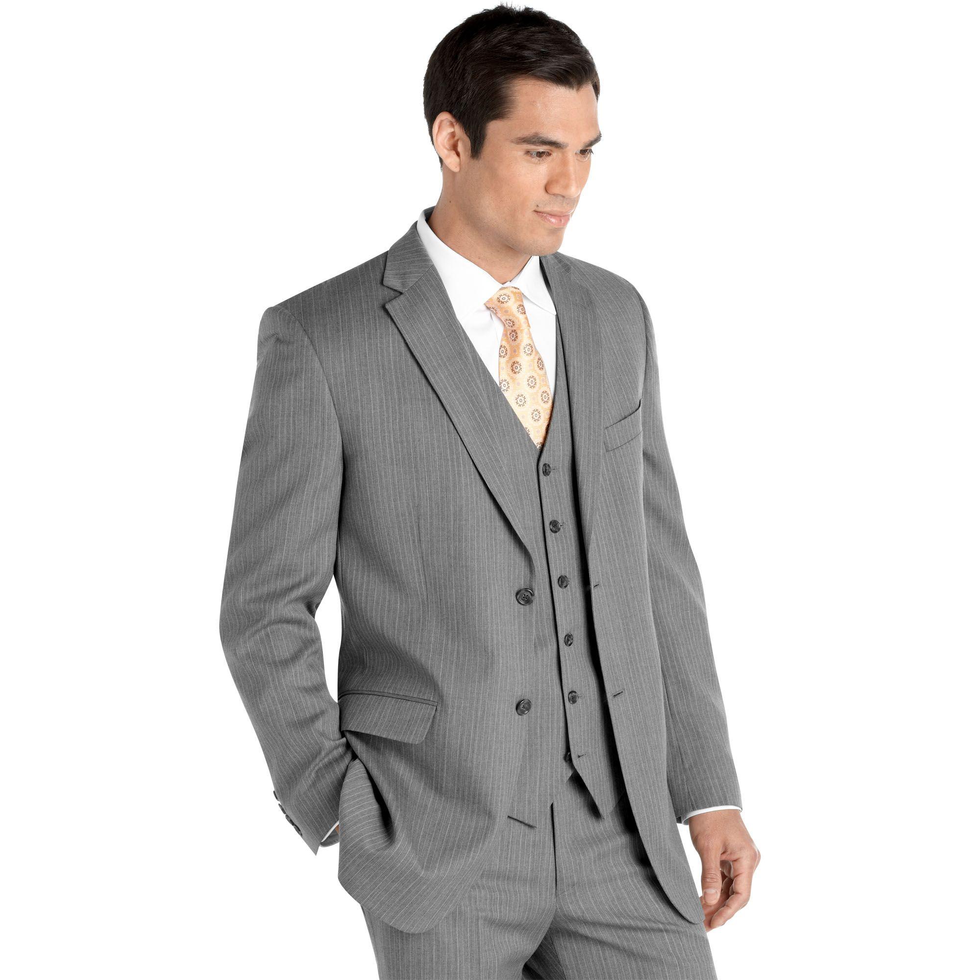 Gray pinstripe, notch lapel, 3 piece Shop mens clothing